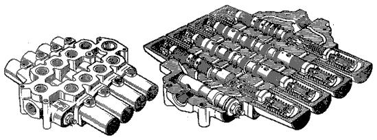 Рис.6. Общий вид (а) и продольный разрез (б) моноблочного четырехзолотникового гидрораспределителя